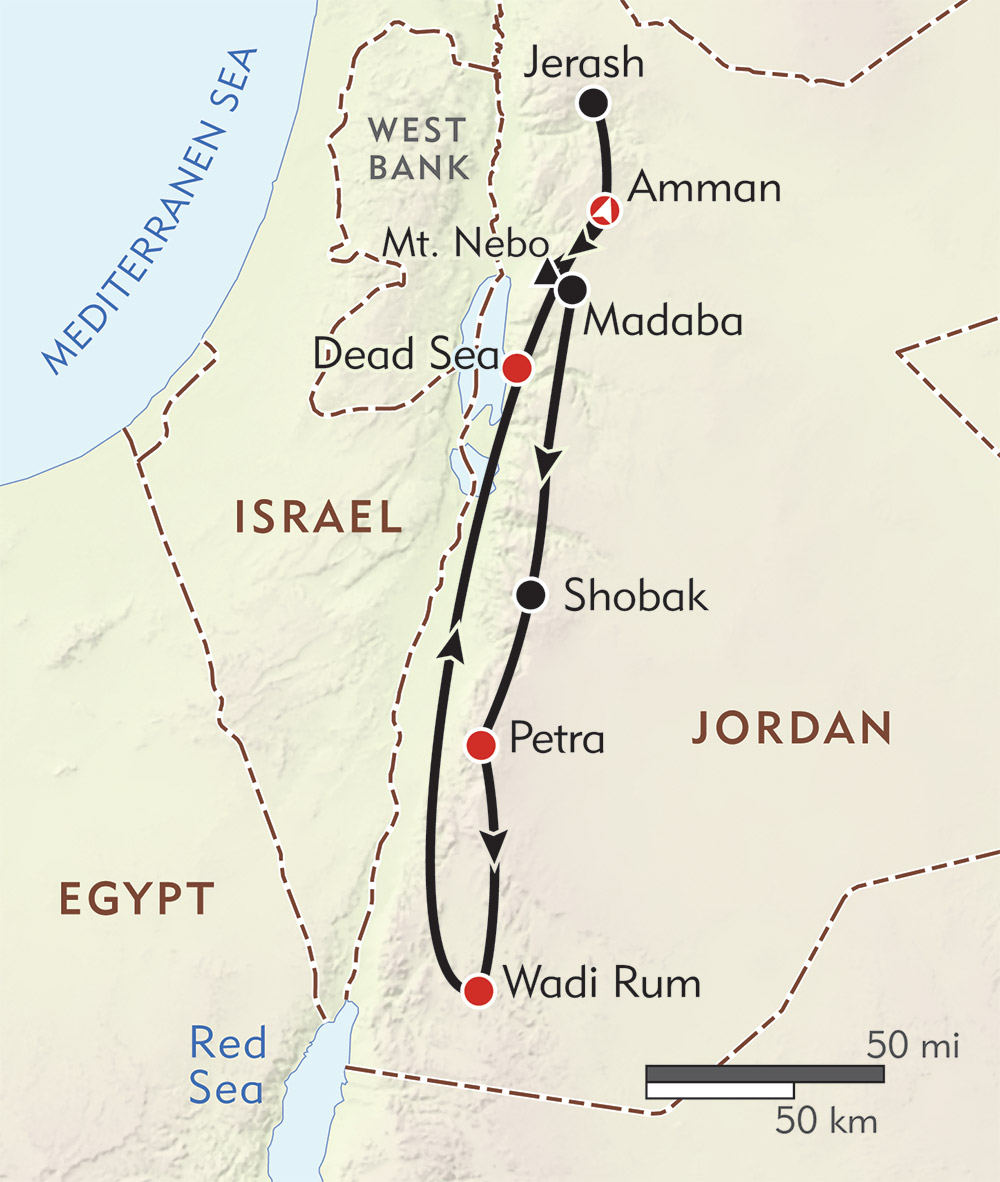 Jordan Private Journey route-map