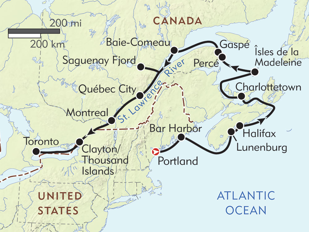 Canadian Maritimes and St. Lawrence Seaway Cruise route-map