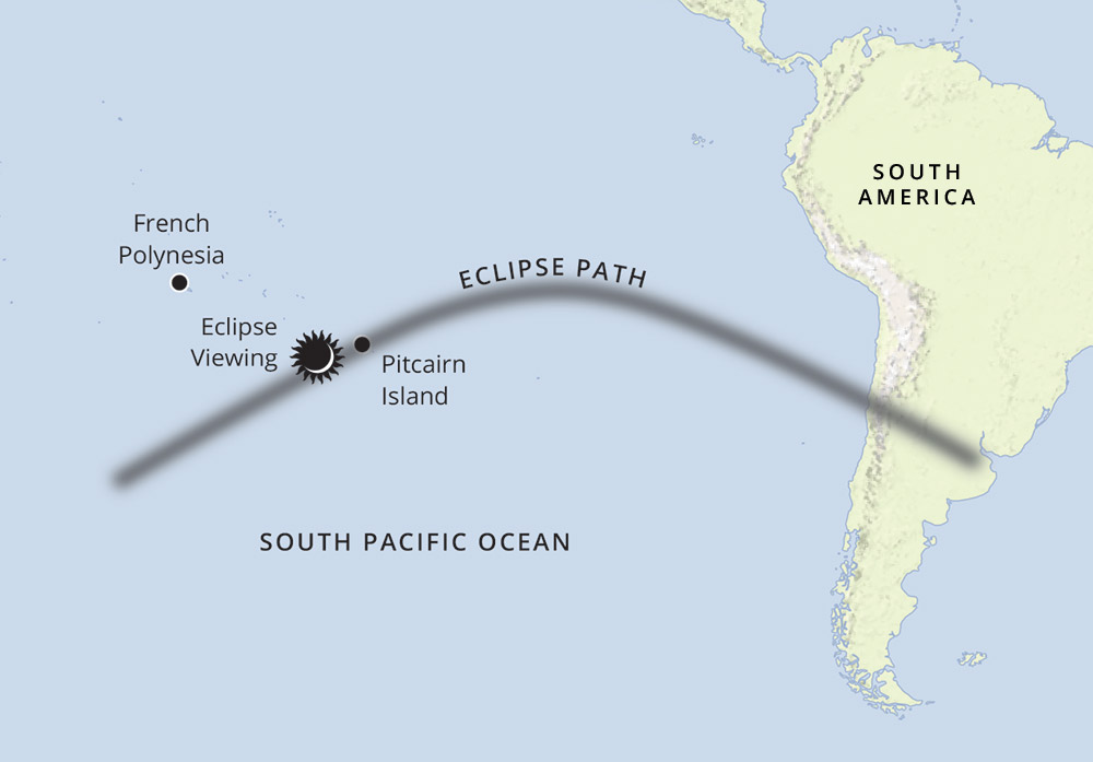 Total Solar Eclipse of 2019: The Isles of Polynesia route-map
