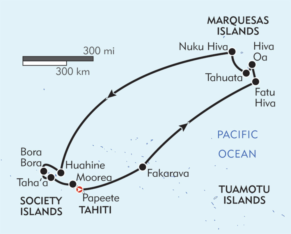 Marquesas, Tuamotus, and Society Islands route-map
