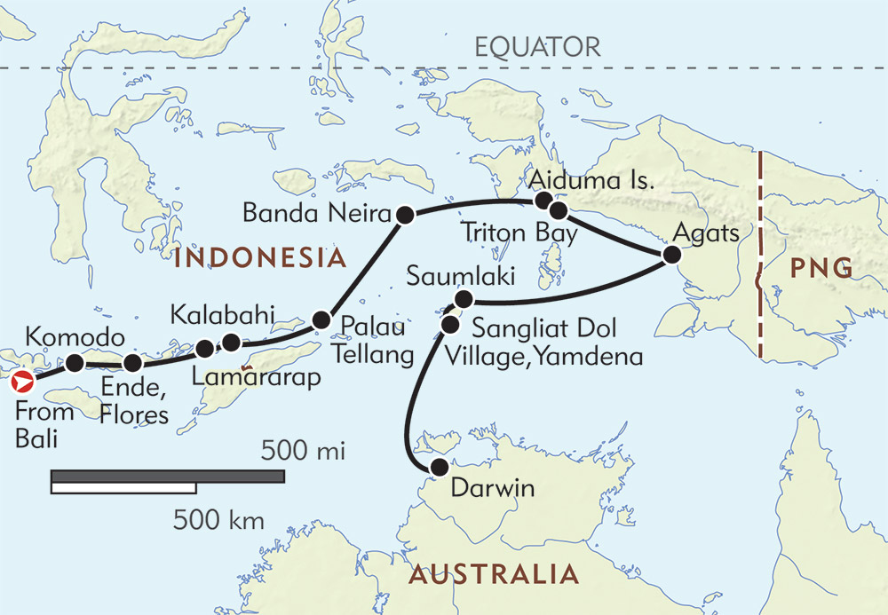Bali to darwin itinerary map wilderness travel bali to darwin route map gumiabroncs Gallery