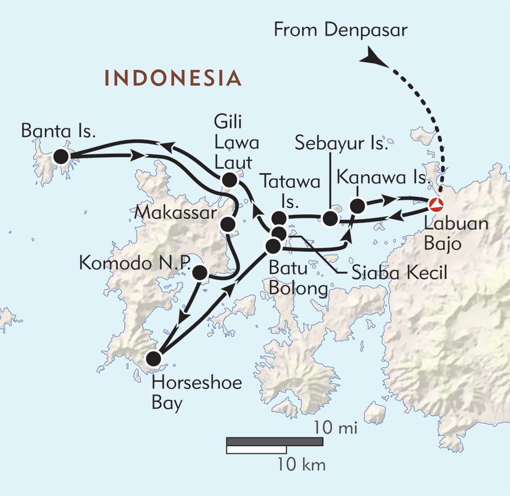 Komodo Snorkeling Expedition route-map