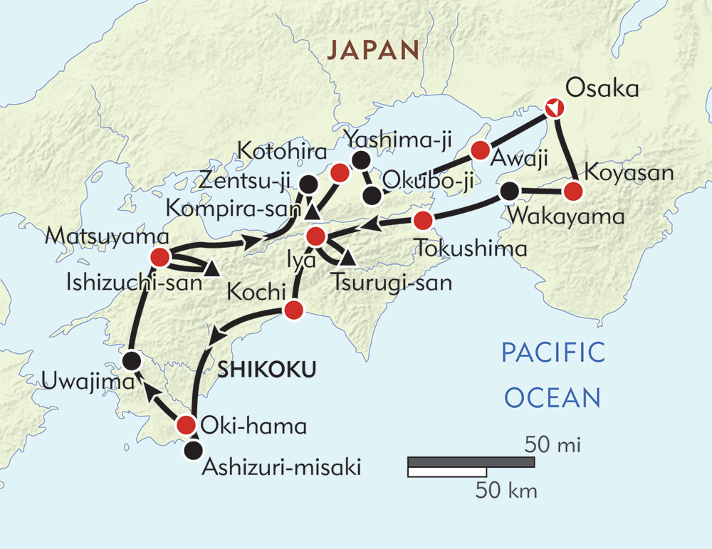 Hiker's Journey to Shikoku route-map