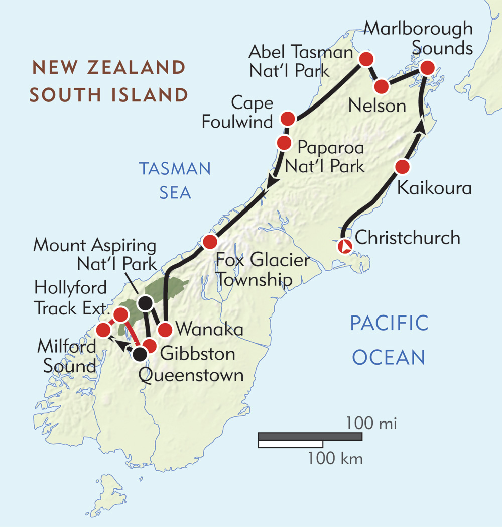 New Zealand South Island Adventure Itinerary Map Wilderness