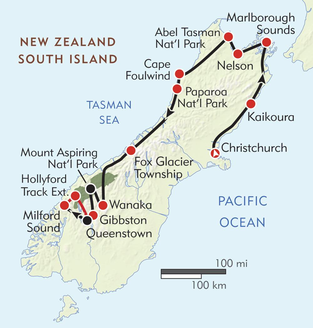 New Zealand South Island Adventure Itinerary Map Wilderness