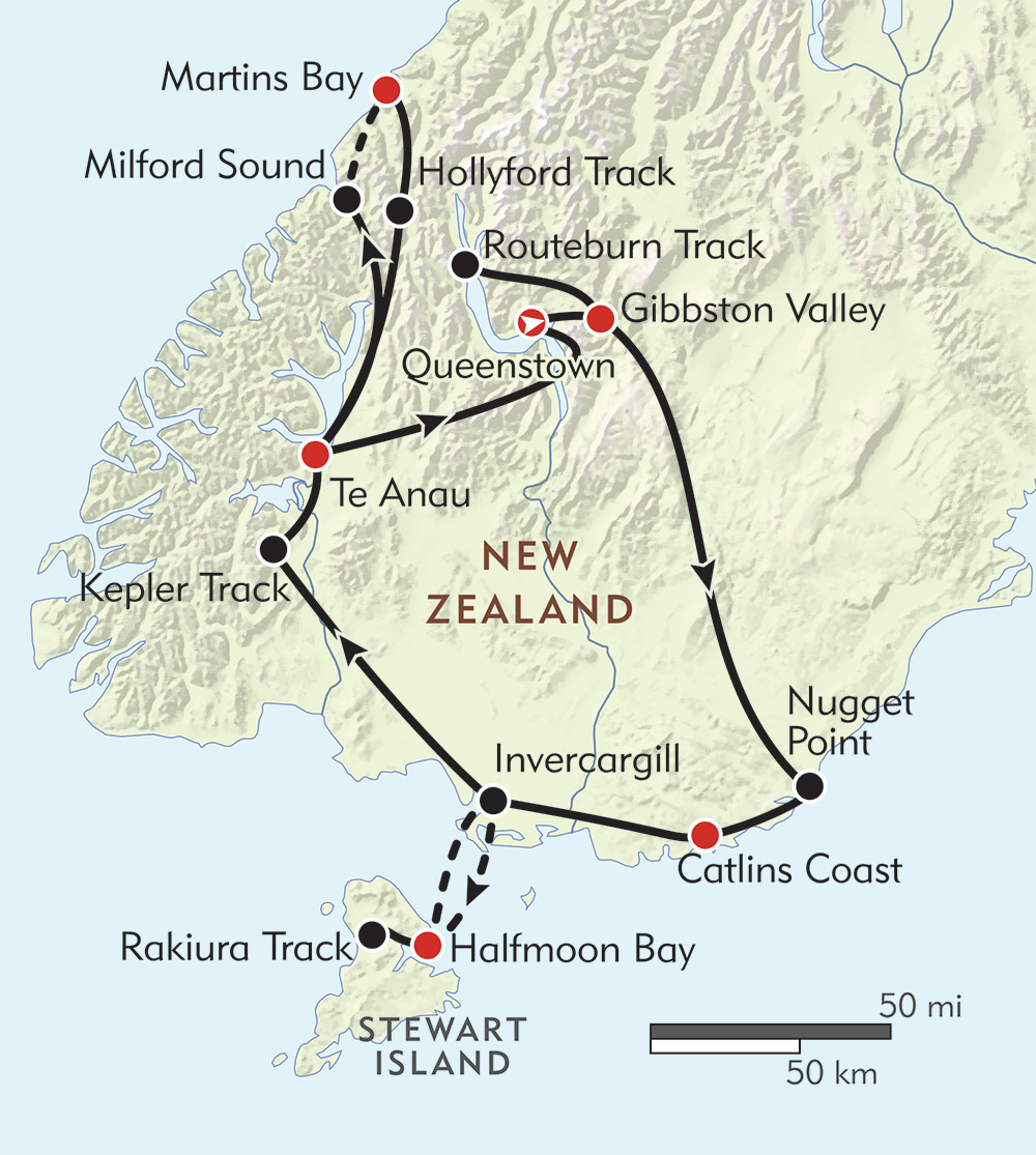 New Zealand: Off the Beaten Path route-map