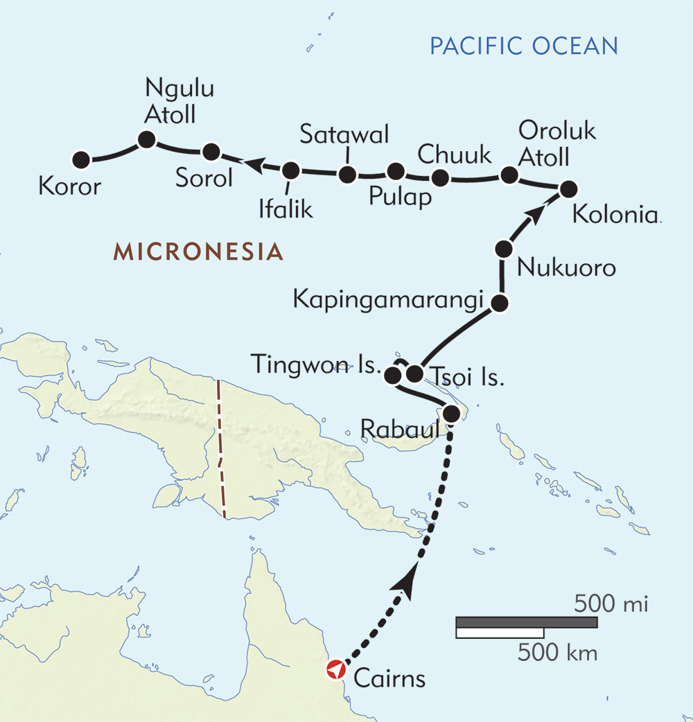 Best of Micronesia: Rabaul to Palau route-map