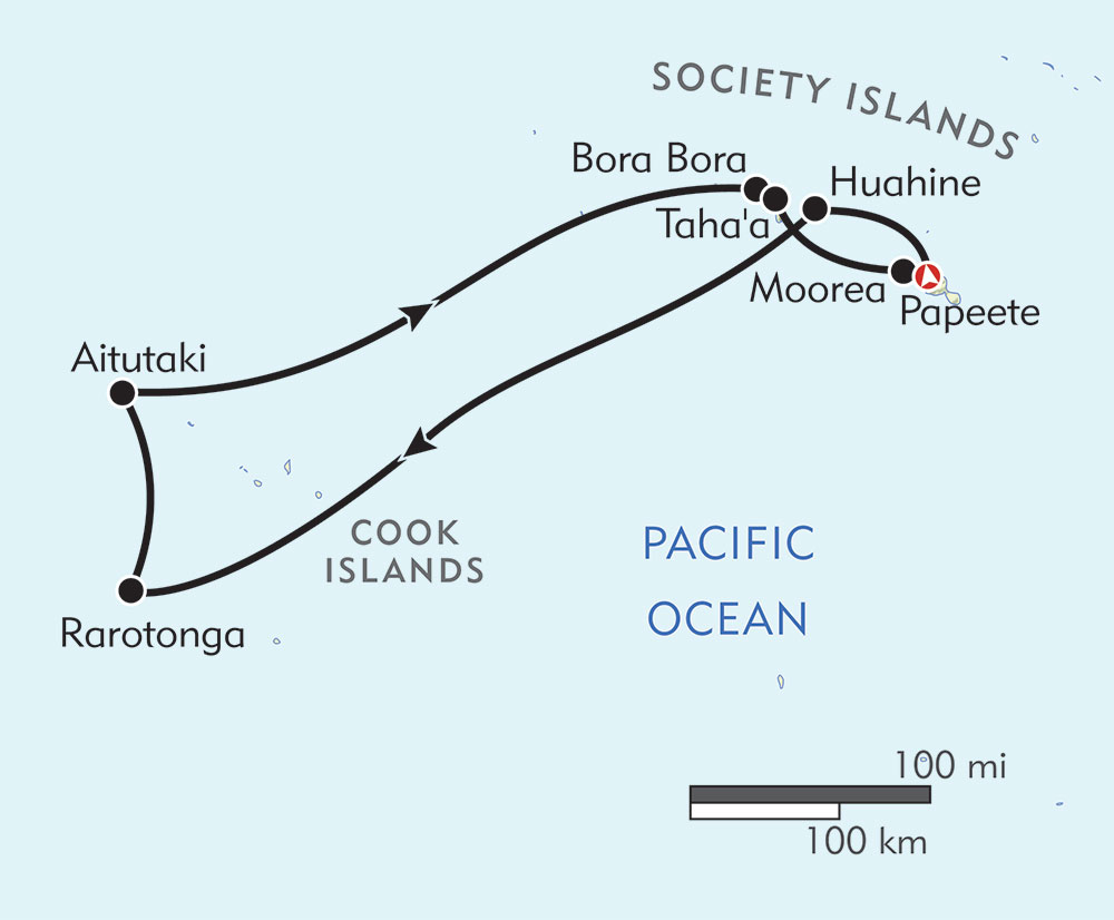 Cook Islands and Society Islands route-map