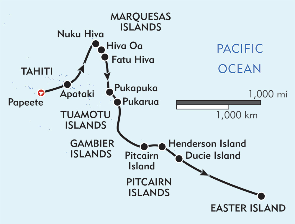 Tahiti to Easter Island: Marquesas, Tuamotus, and Pitcairns route-map