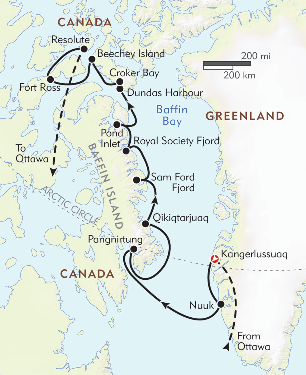 Northwest Passage: In the Footsteps of Franklin route-map