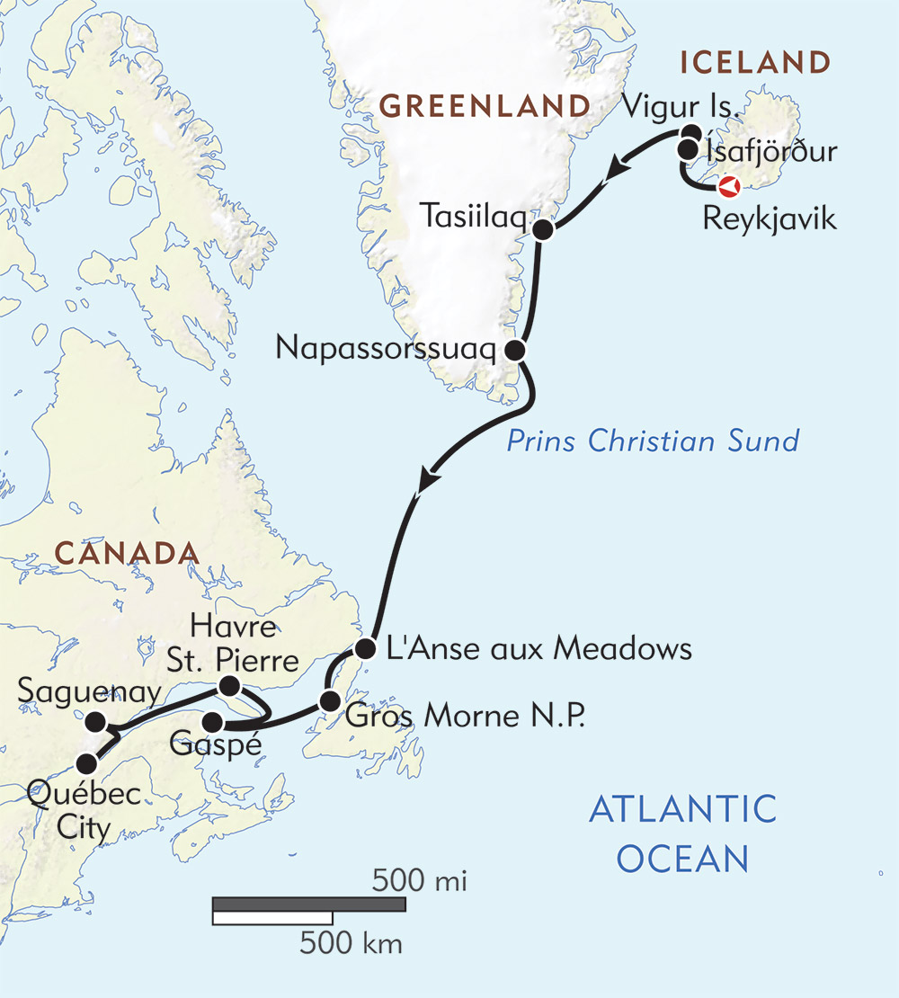 Map Of Canada Greenland And Iceland.Path Of The Vikings Reykjavik To Quebec Wilderness Travel