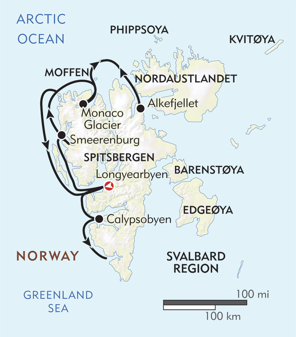 Introduction to Spitsbergen route-map
