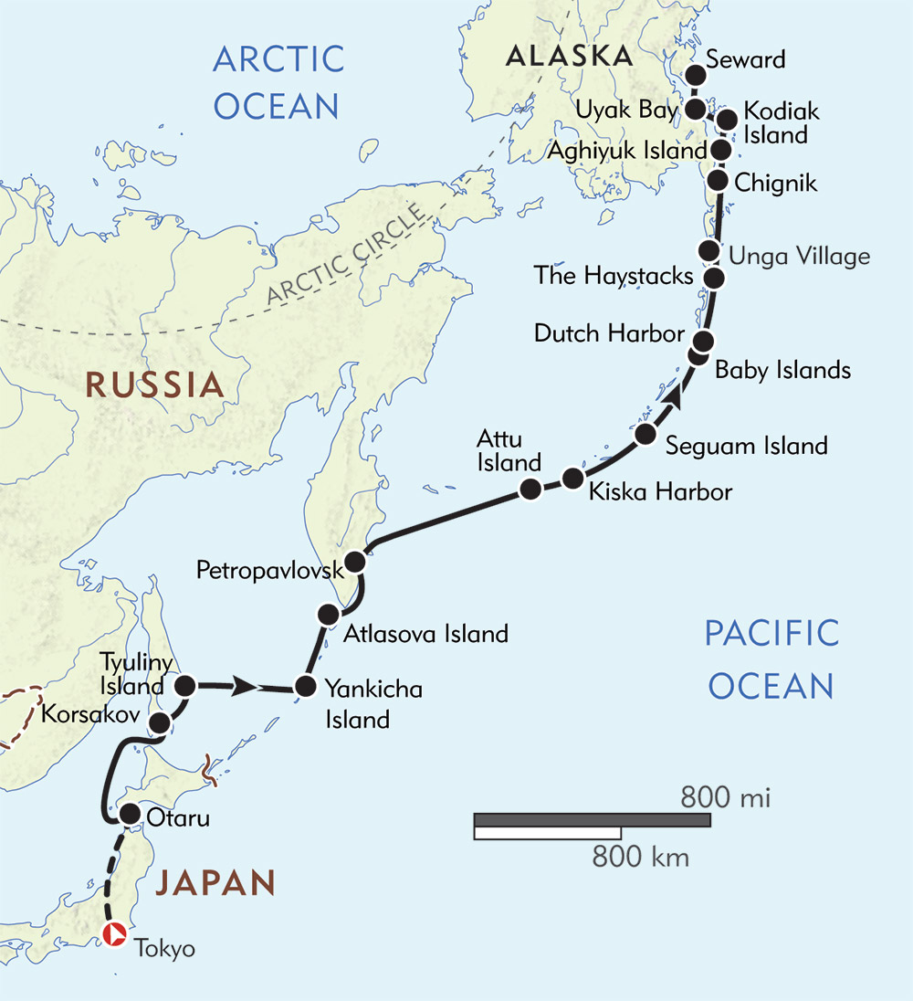 The Aleutian Islands and the Russian Far East route-map