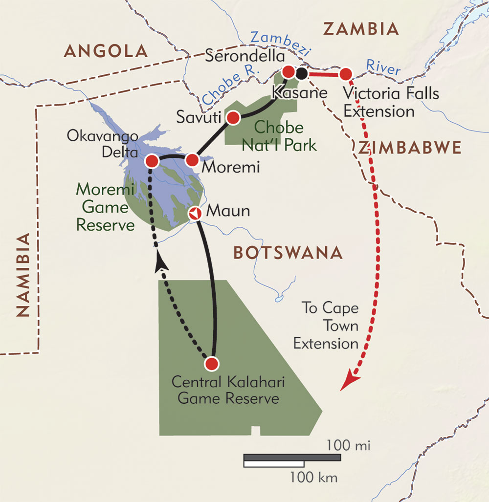 Botswana: Kalahari Explorer route-map