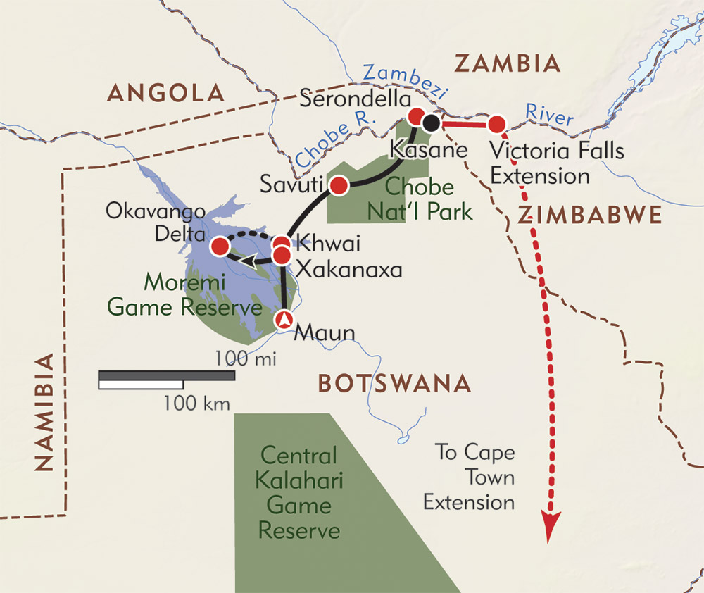Botswana: Okavango Explorer route-map