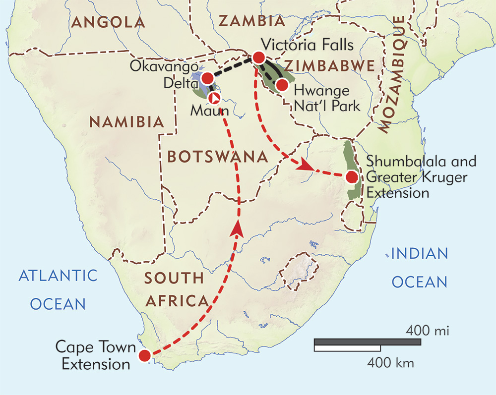 Okavango, Victoria Falls, and Hwange Private Journey route-map