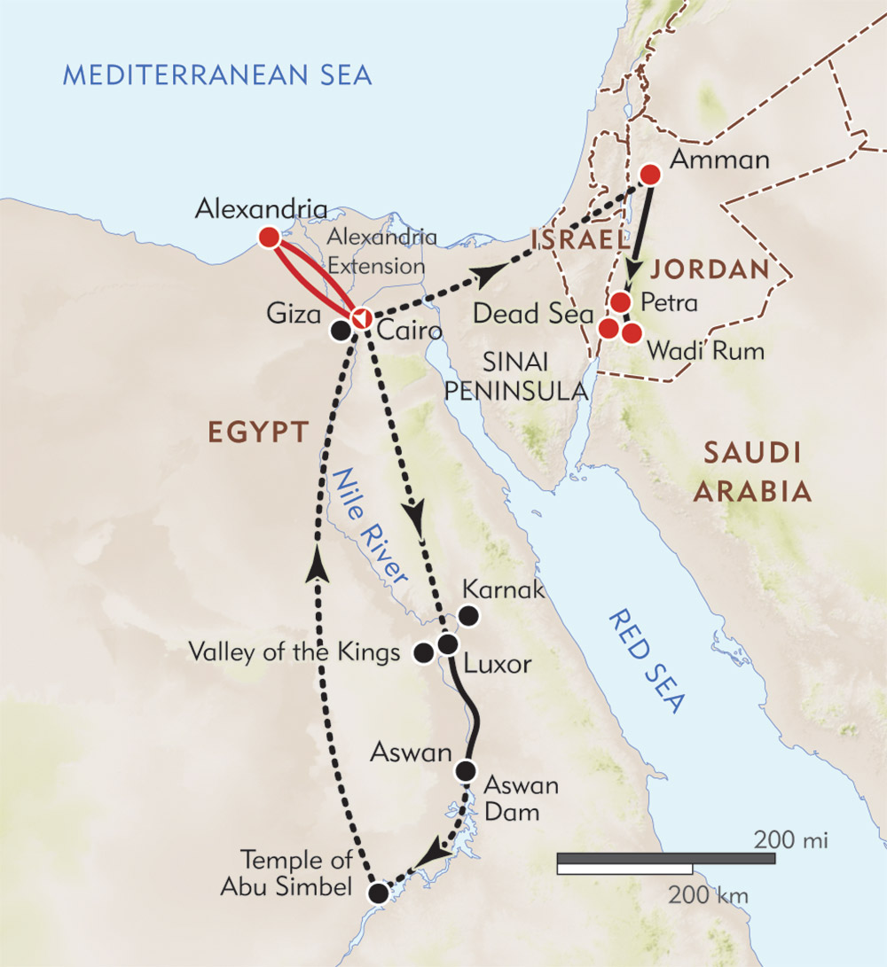 Pyramids to Petra route-map