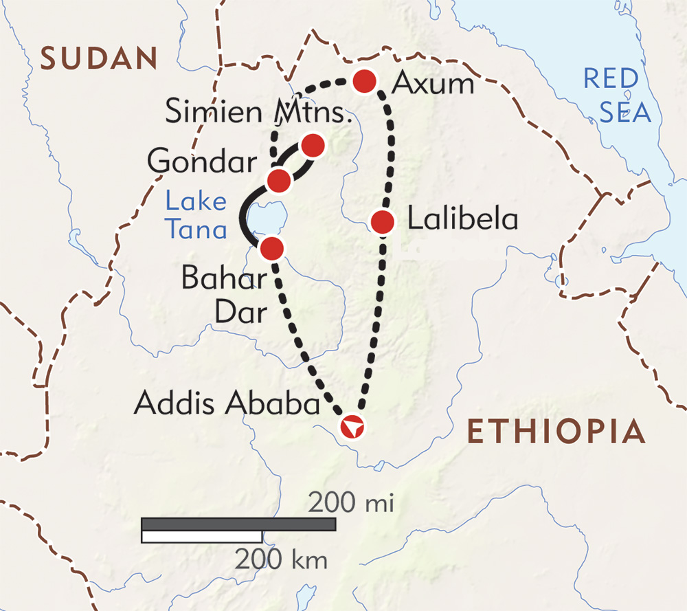 Ethiopia: From Ancient Rock Churches to the Simien Mountains route-map