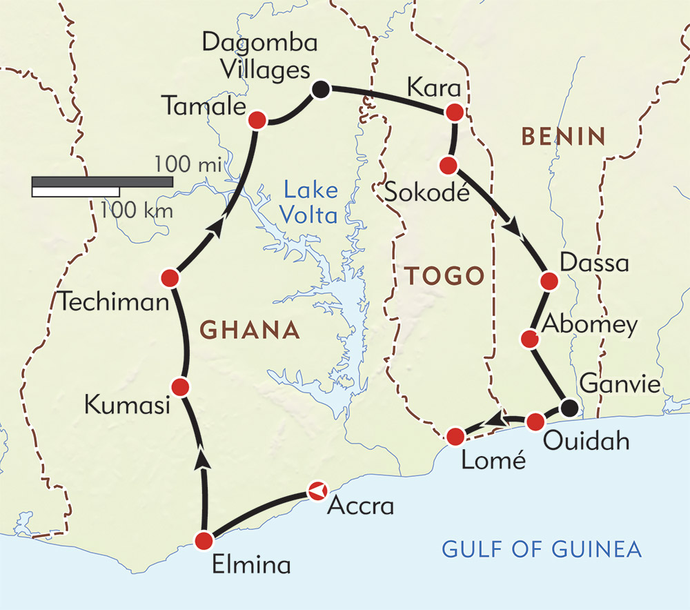 Tribal Ghana, Togo, and Benin route-map