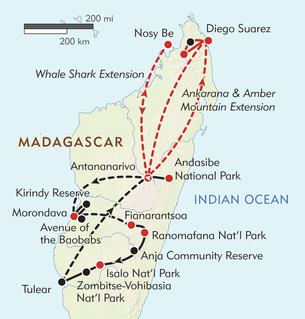 Madagascar: Off the Beaten Path route-map