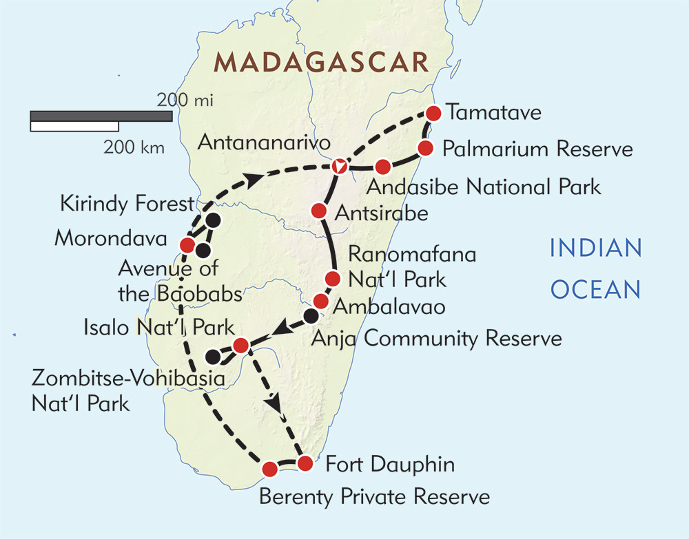 Madagascar In Depth: Lemurs, Baobabs, and Stone Forests route-map
