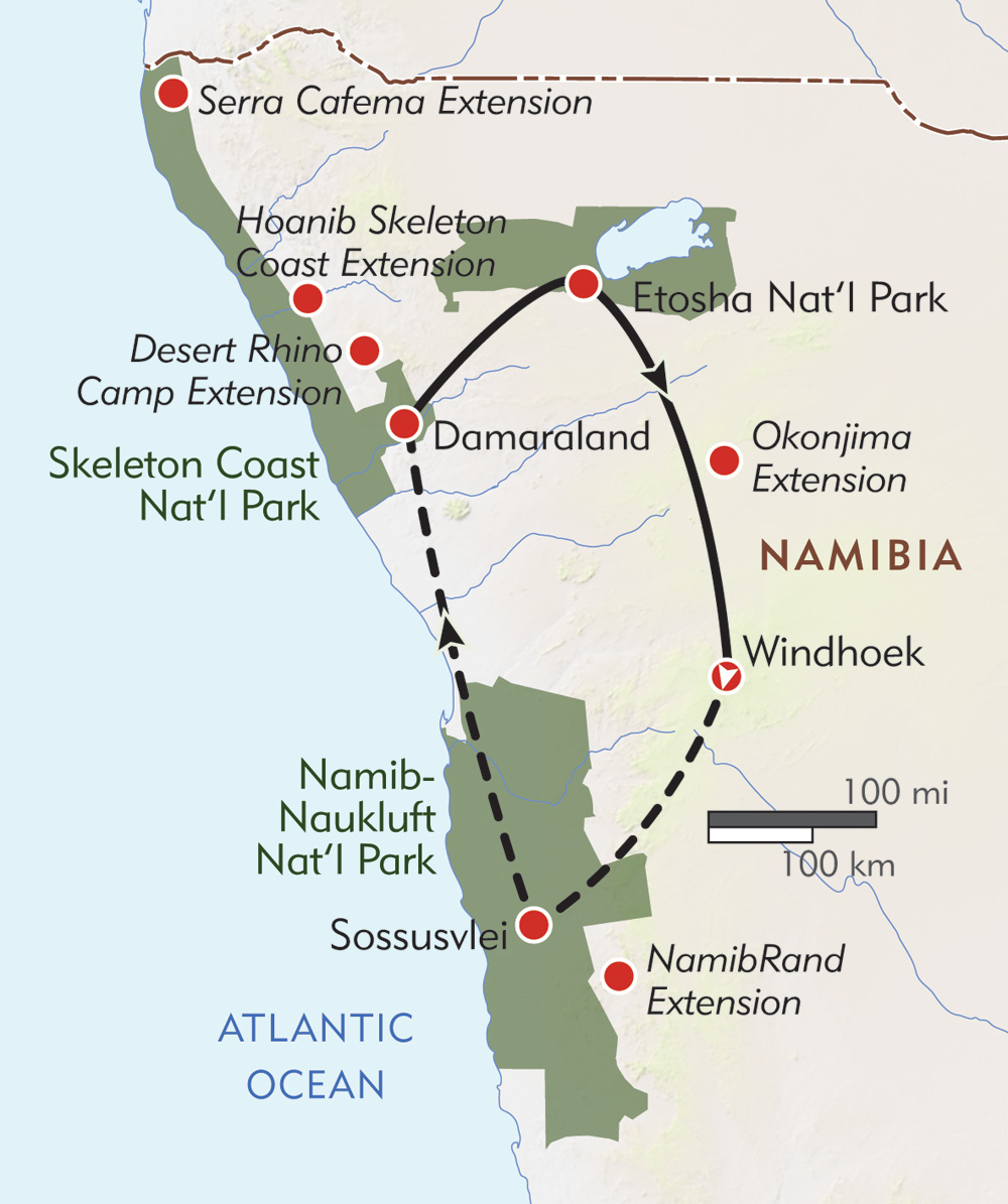 Namibia Private Journey route-map