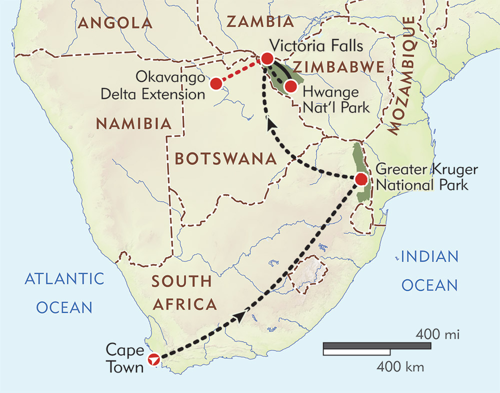 South Africa, Victoria Falls, and Hwange Private Journey route-map
