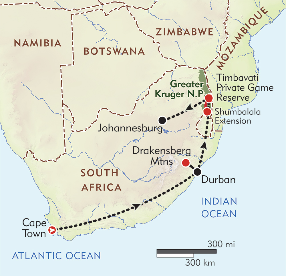 South Africa Discovery route-map