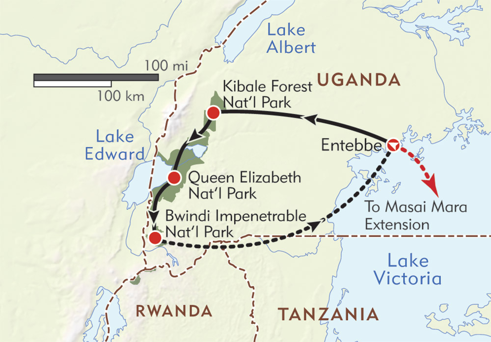 Mountain Gorilla Safari route-map