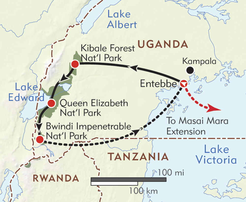 Uganda Private Journey route-map