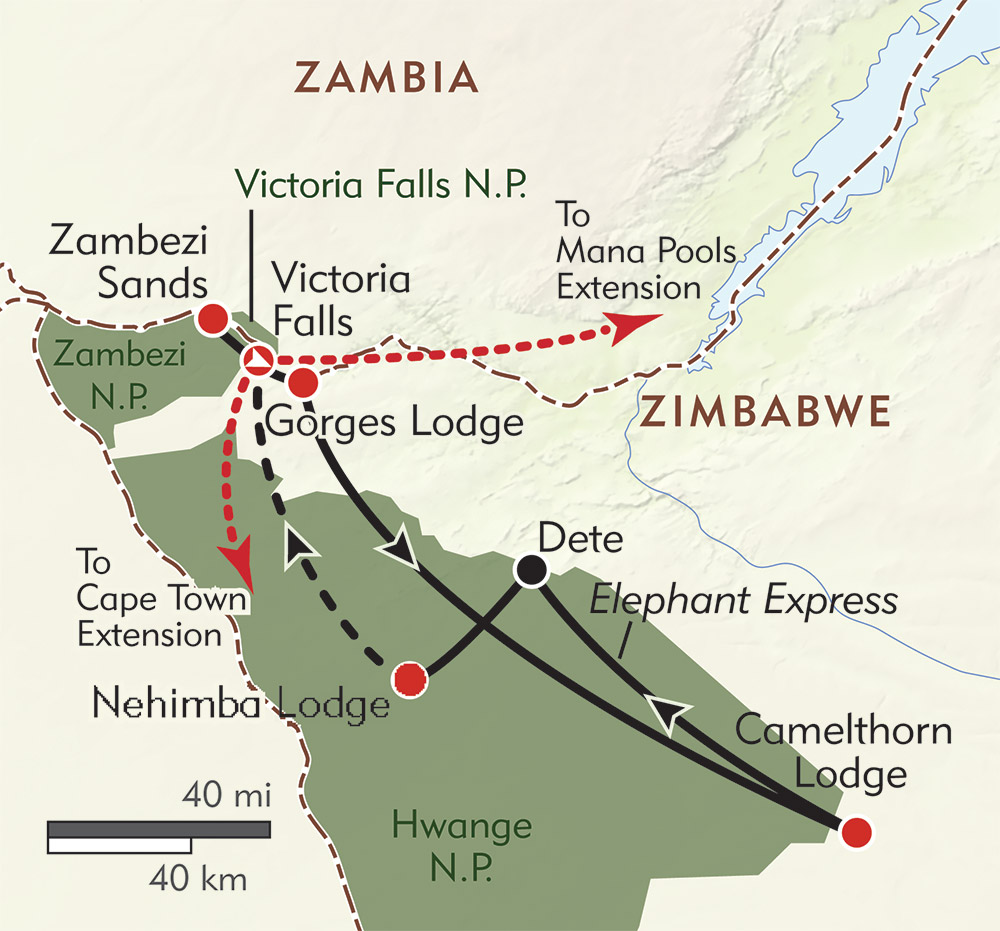 Wild Zimbabwe route-map