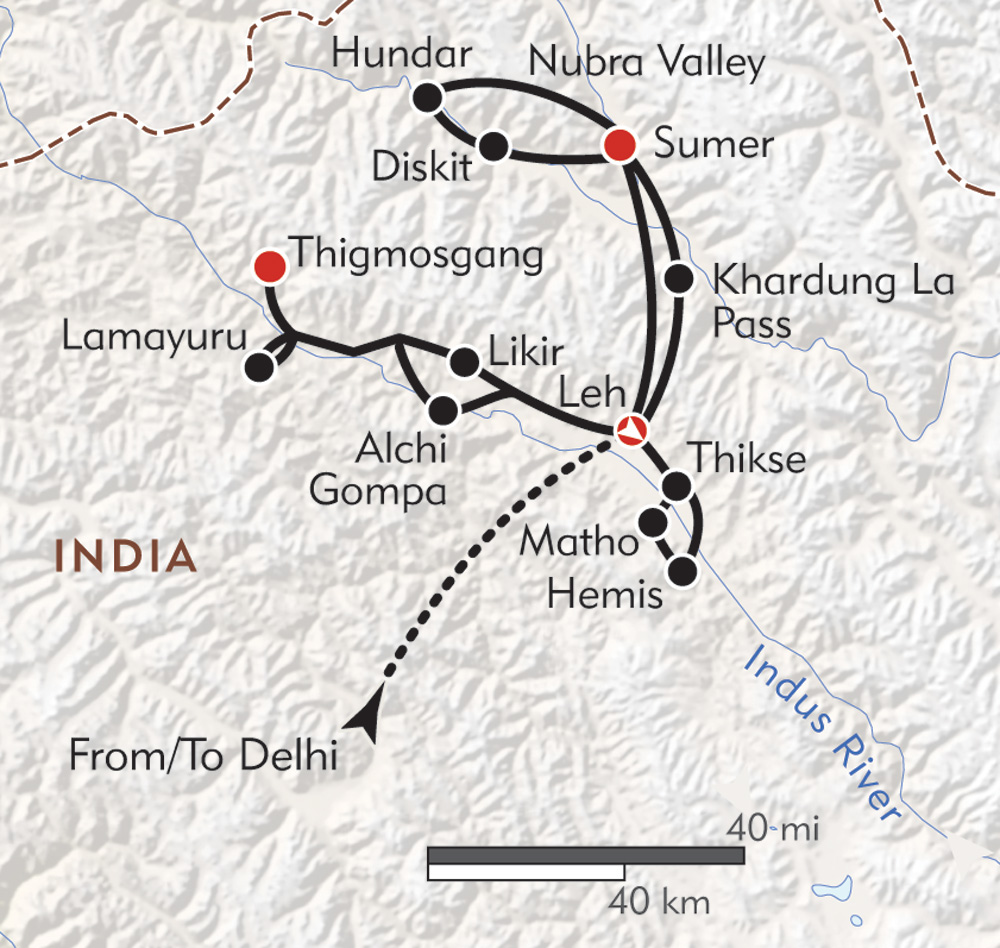 Journey to Ladakh route-map