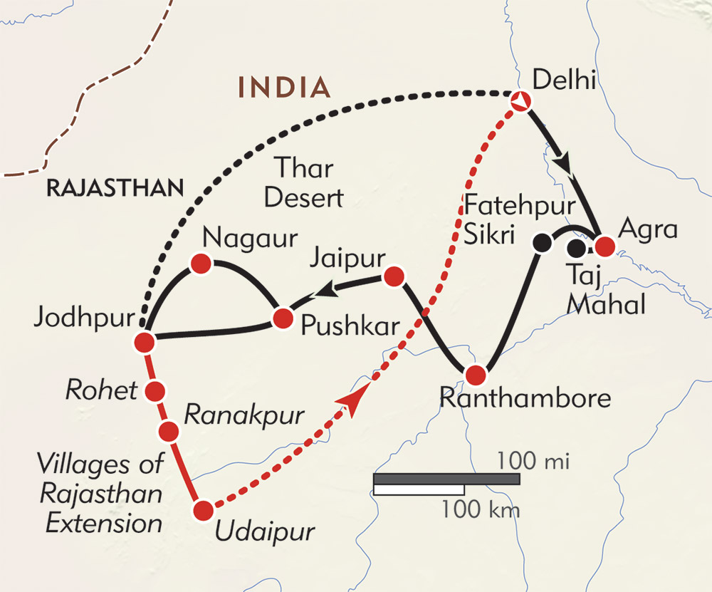 Royal Rajasthan route-map