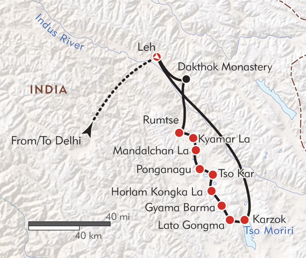 Ladakh: The Tso Moriri Trek route-map
