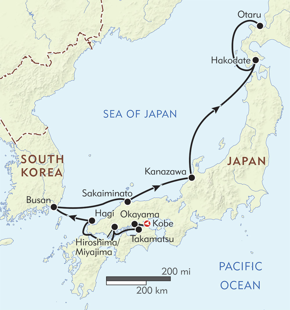 Japan and South Korea: From Kobe to Hokkaido | Wilderness Travel on map of tachikawa japan, map of shimizu japan, map of himeji japan, map of mount koya japan, map of guam japan, map of chitose japan, map of kuril islands japan, map of japan cities, map of ibaraki japan, map of naoshima japan, map of otaru japan, map of sagamihara japan, map of yokota air base japan, map of honshu japan, map of volcano islands japan, map of sado japan, map of shinjuku japan, map of mount aso japan, map of hyogo prefecture japan, map of yokote japan,