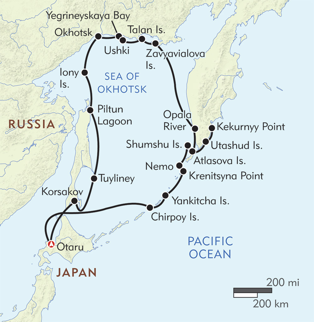 Around the Sea of Okhotsk route-map
