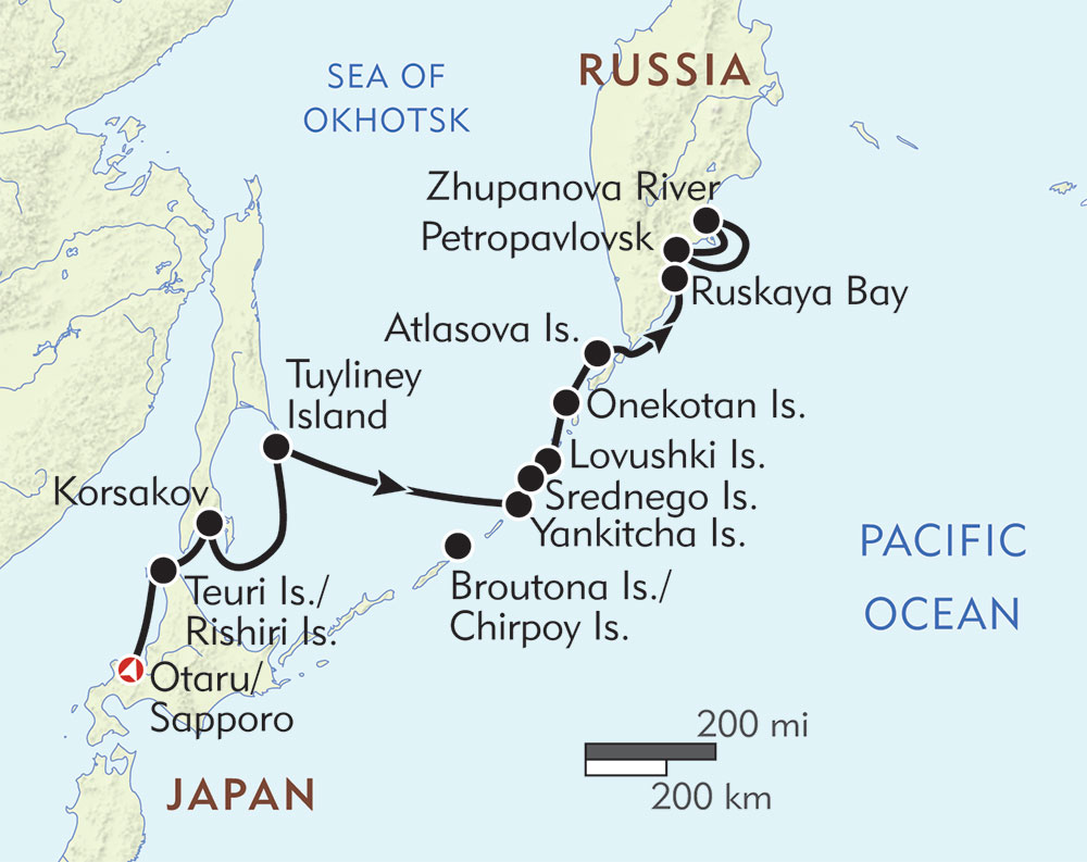 Wild Kamchatka with the Kuril Islands route-map
