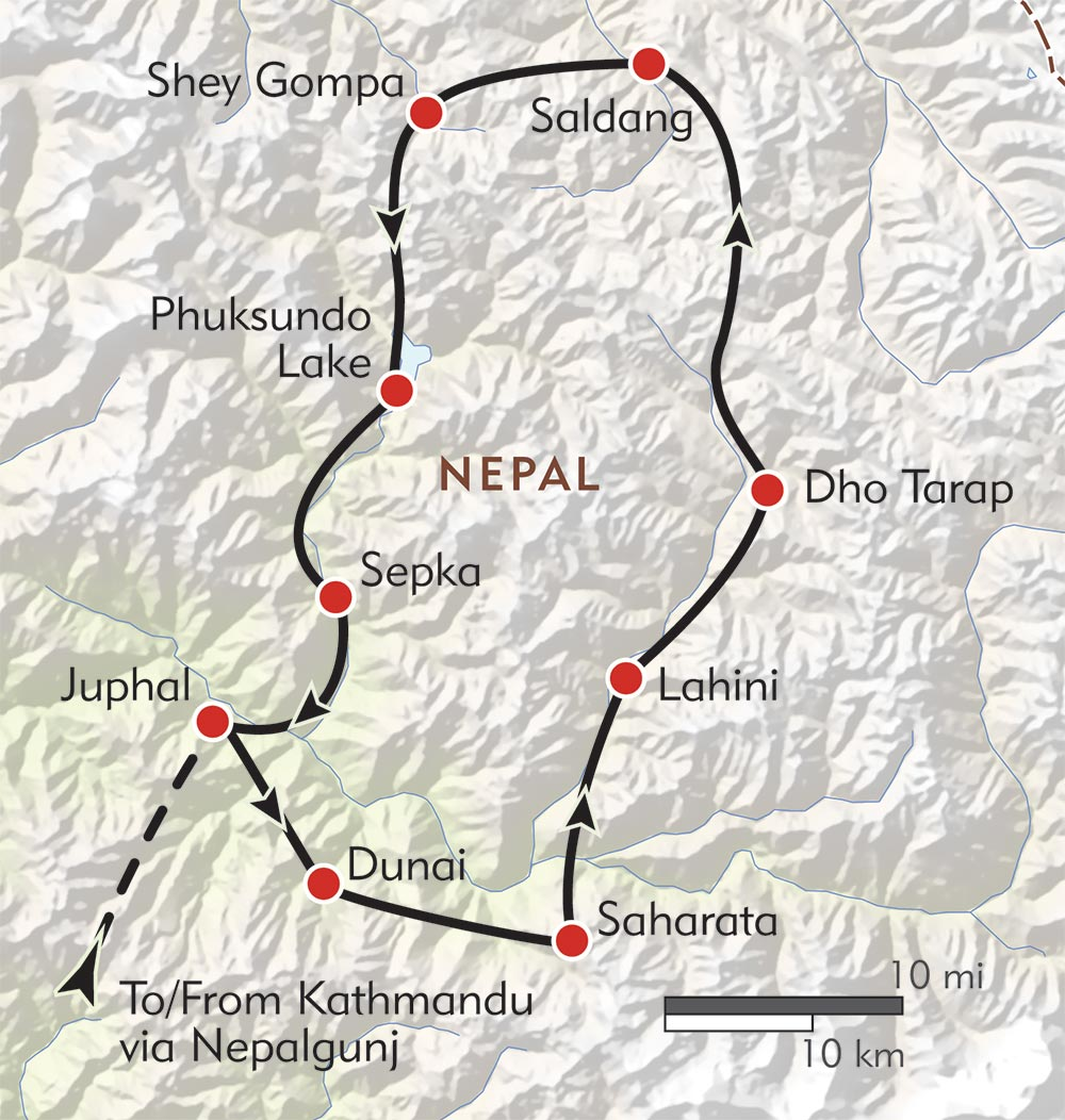 Dolpo: Expedition to the Crystal Mountain route-map