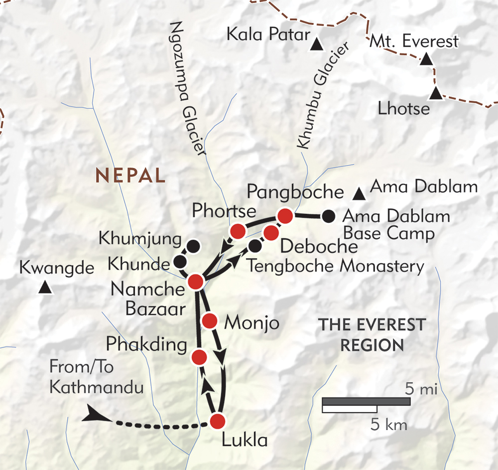Everest Lodge to Lodge route-map