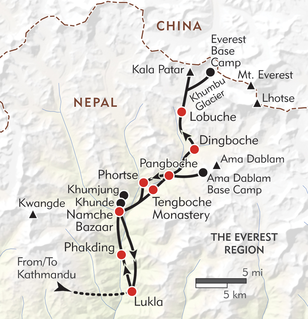 Everest Base Camp route-map