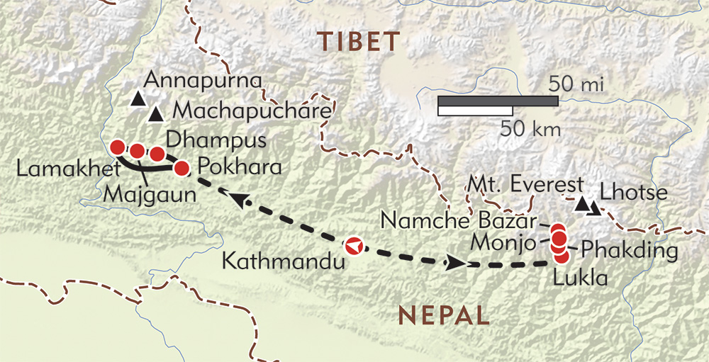 Everest and Annapurna Private Journey route-map