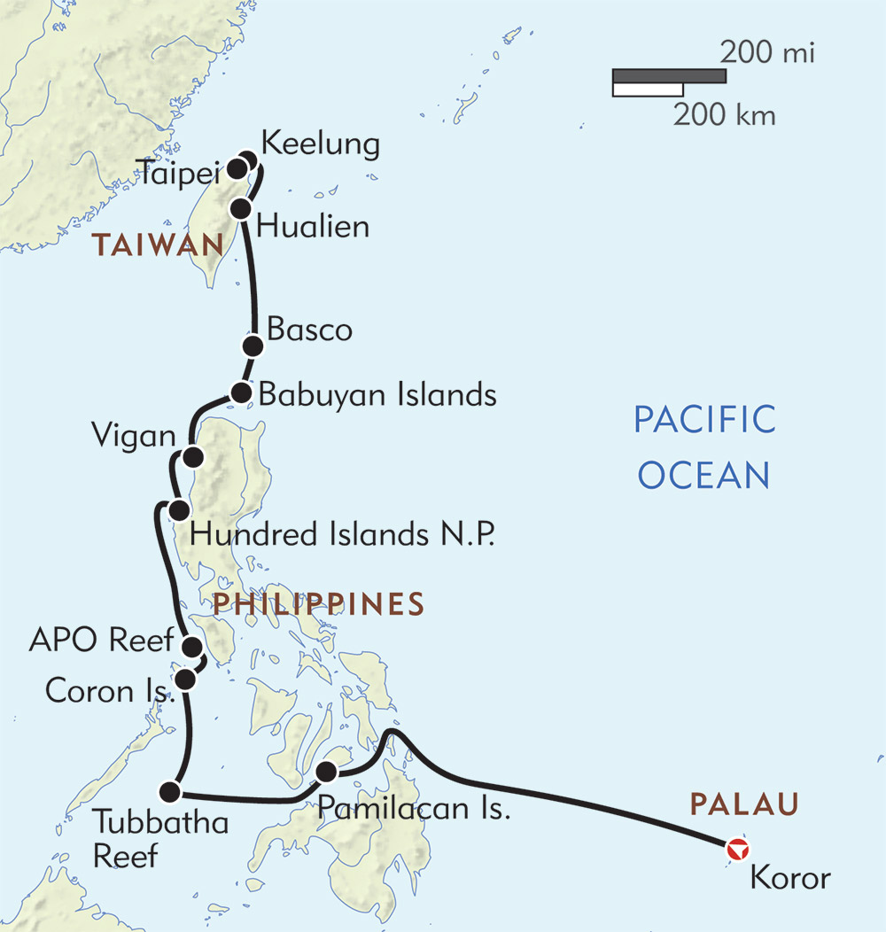 Philippines with Palau and Taiwan route-map