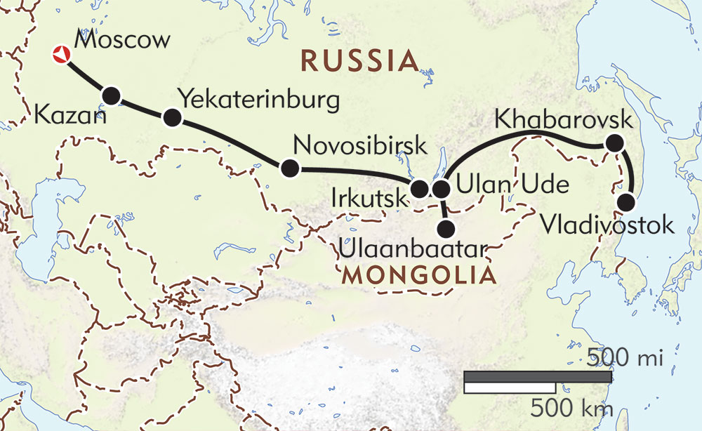 Trans-Siberian Express route-map