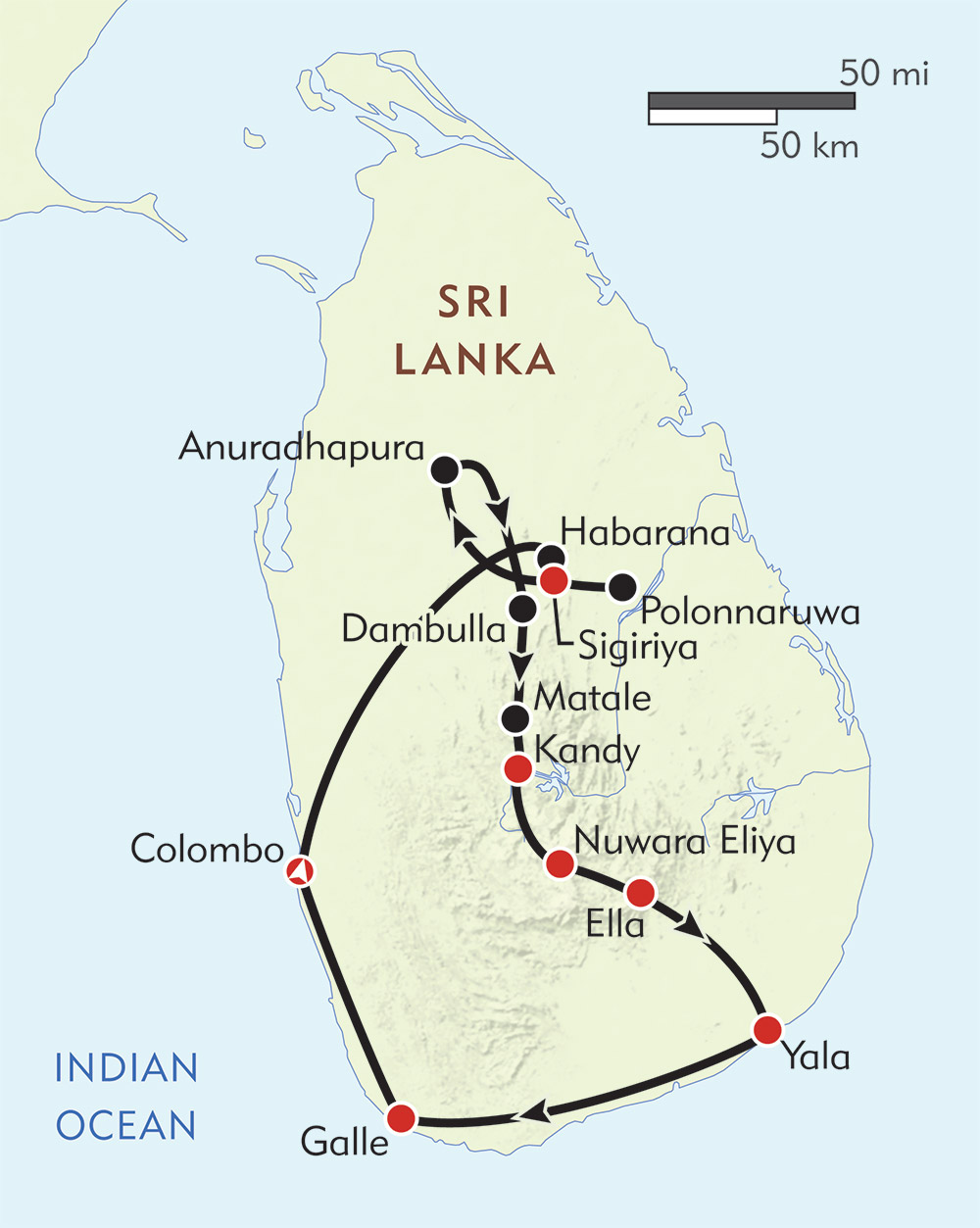 Sri Lanka route-map