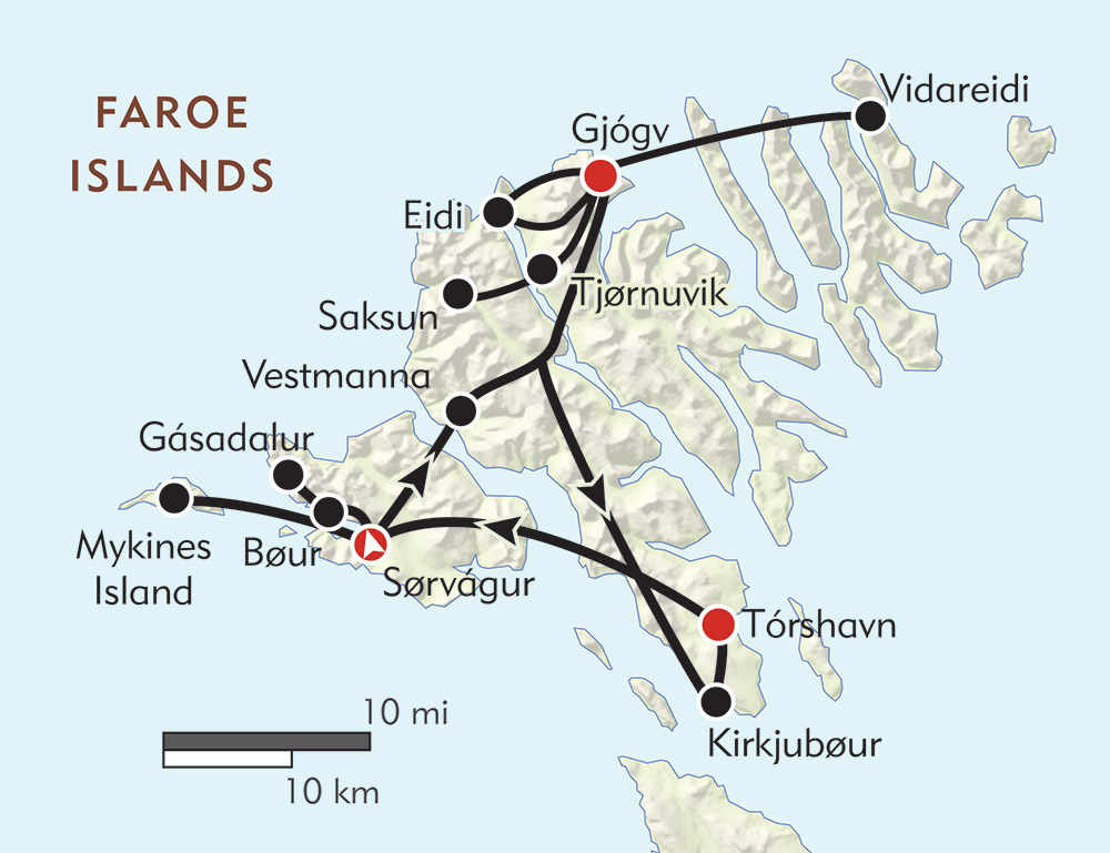 Hiking the Faroe Islands route-map