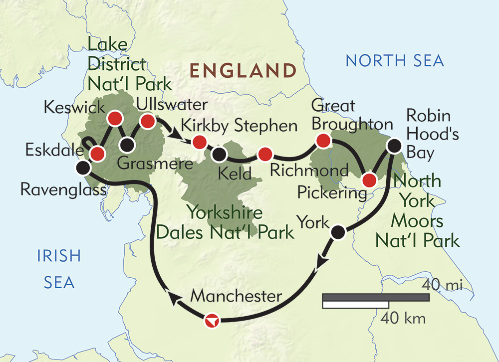 England Coast to Coast route-map
