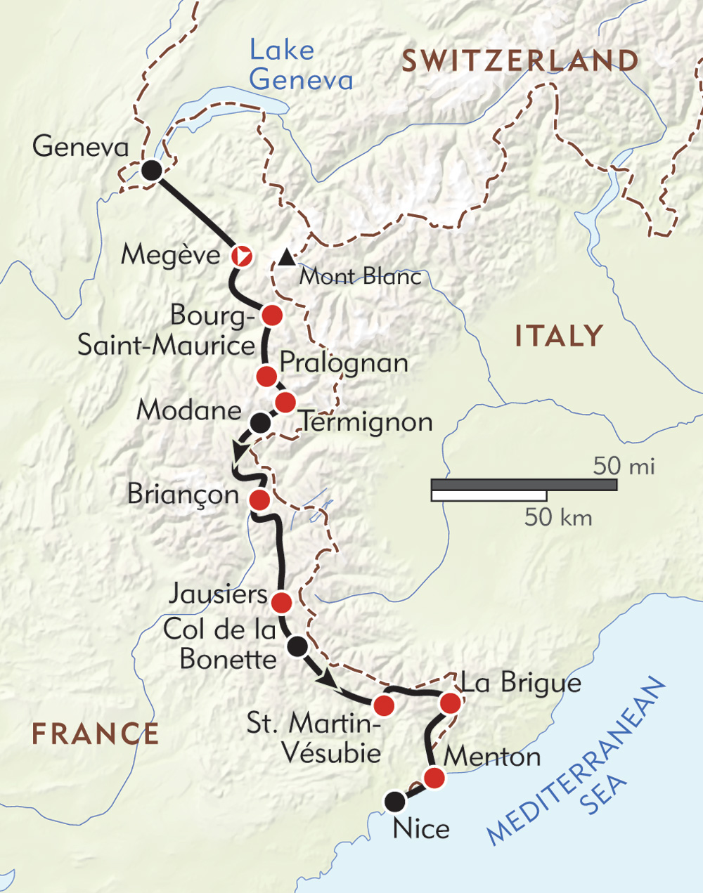 Mont Blanc to the Mediterranean route-map