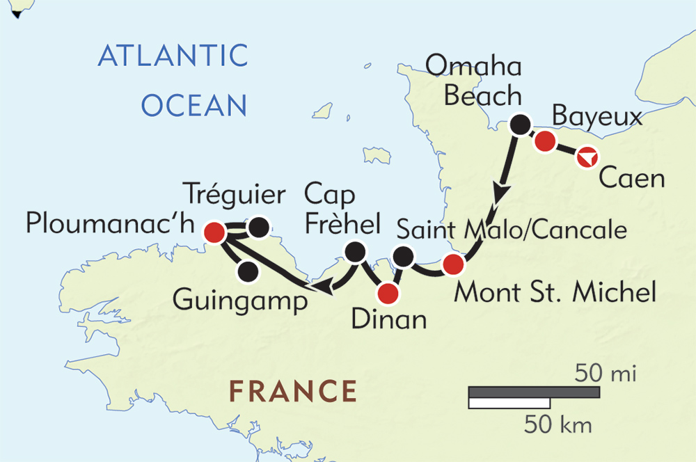 Normandy and Brittany route-map