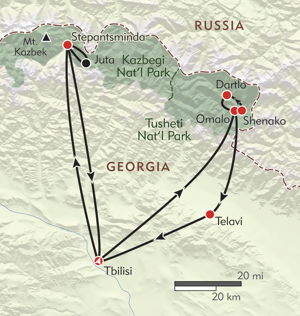Hiker's Journey to the Caucasus route-map