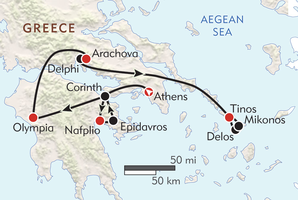 Greece Private Journey route-map
